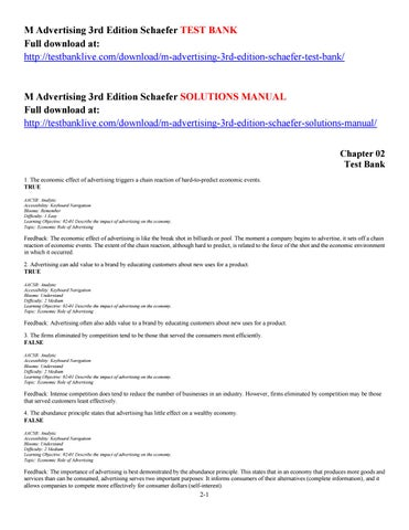 M advertising 3rd edition schaefer test bank by glabya issuu page 1 fandeluxe Images