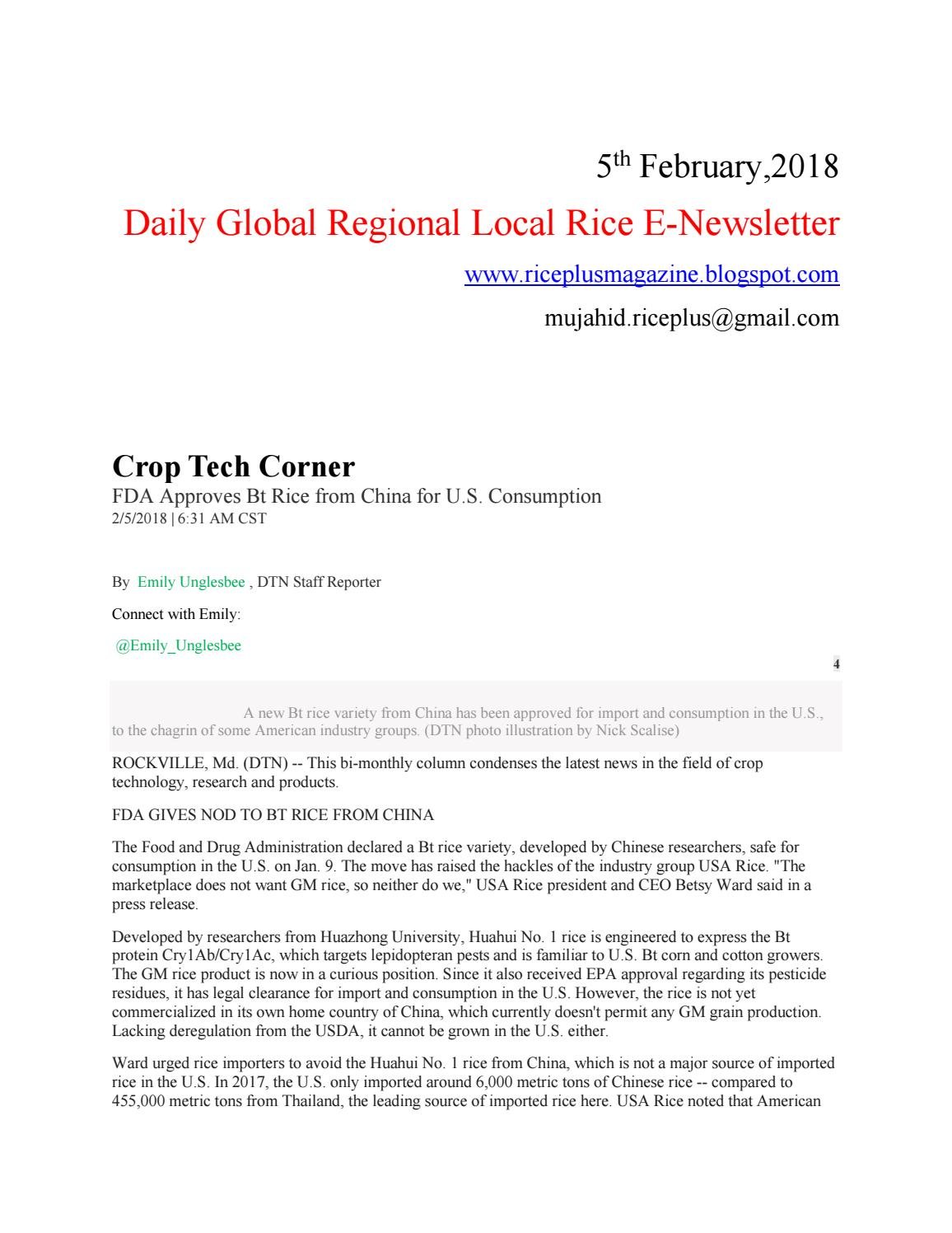 5th february,2018 daily global regional local rice e newsletter by DAILY  RICE NEWS LETTER - issuu