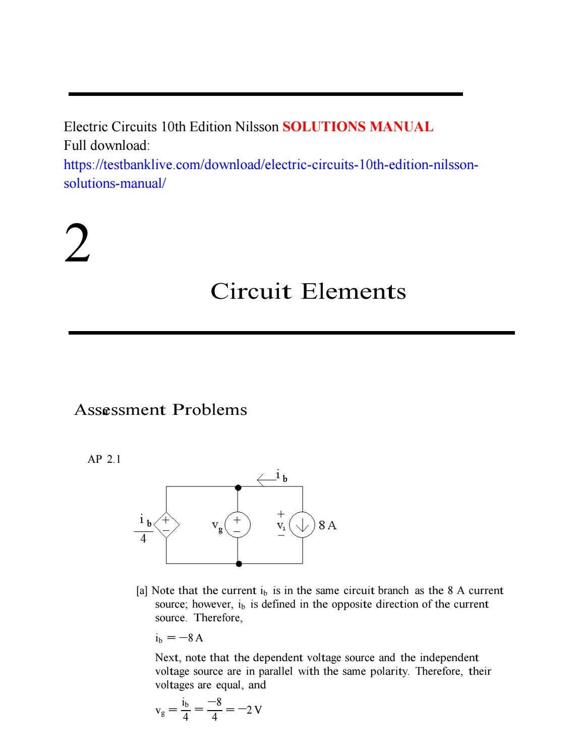 Electric Circuits 10th Edition Nilsson Solutions Manual By Windy4549 What Is Meant Circuit Issuu