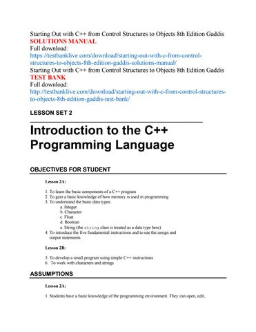 Starting Out With C From Control Structures To Objects 8th Edition