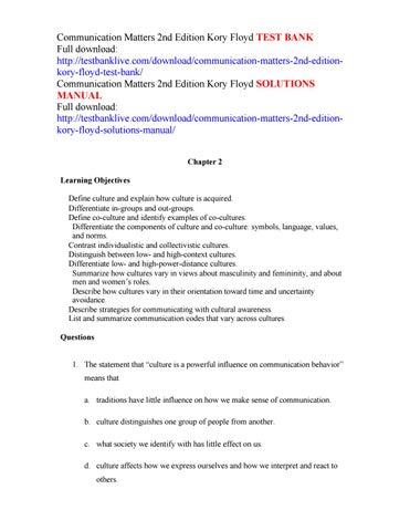 communication matters 2nd edition kory floyd test bank by adam issuu rh issuu com
