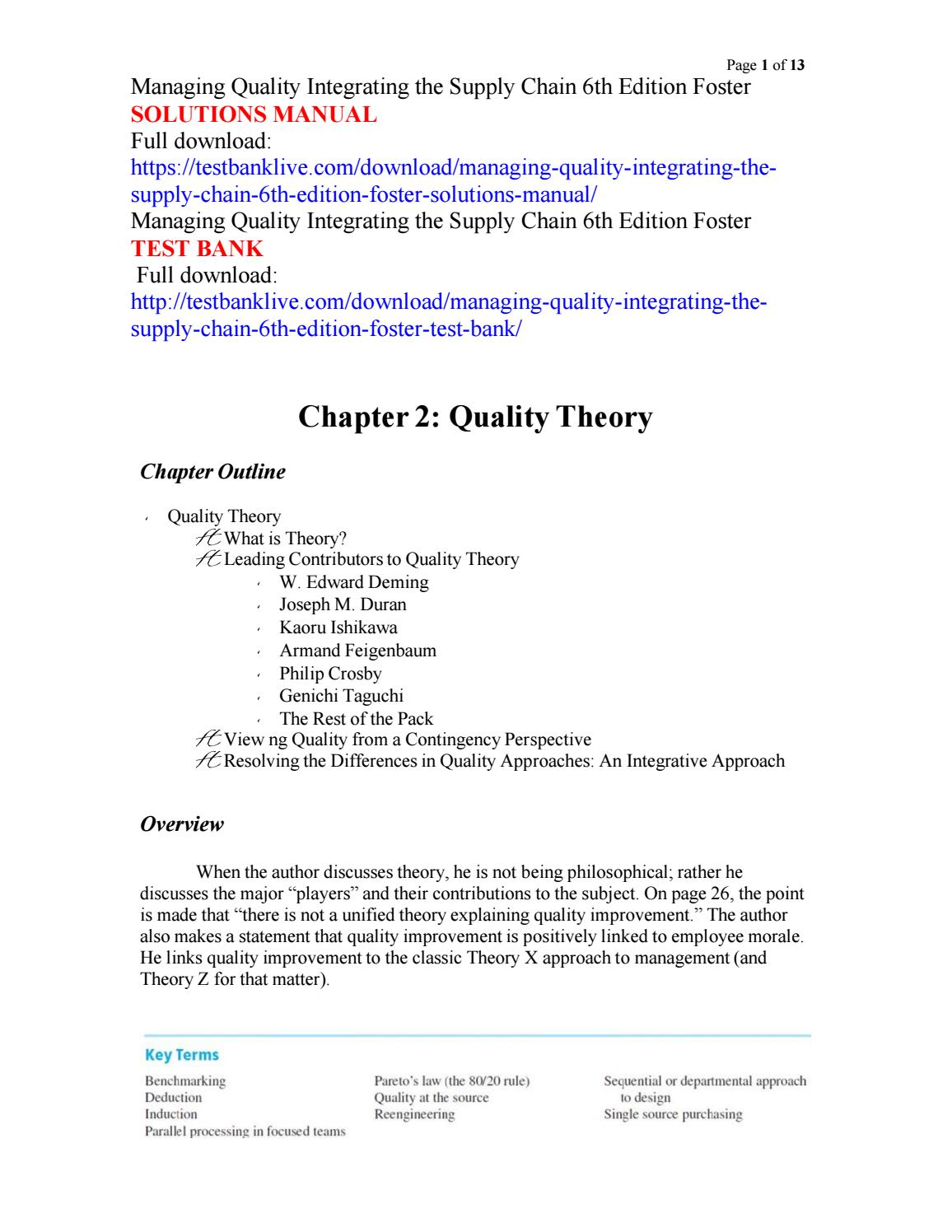 Managing quality integrating the supply chain 6th edition foster solutions  manual by windy4549 - issuu