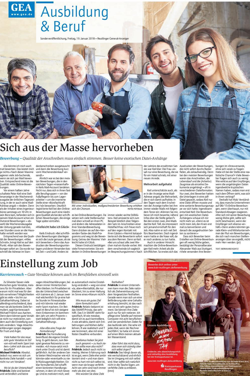 Ausbildung & Beruf 2018 - Reutlinger General-Anzeiger by GEA Publishing und  Media Services GmbH & Co. KG - issuu