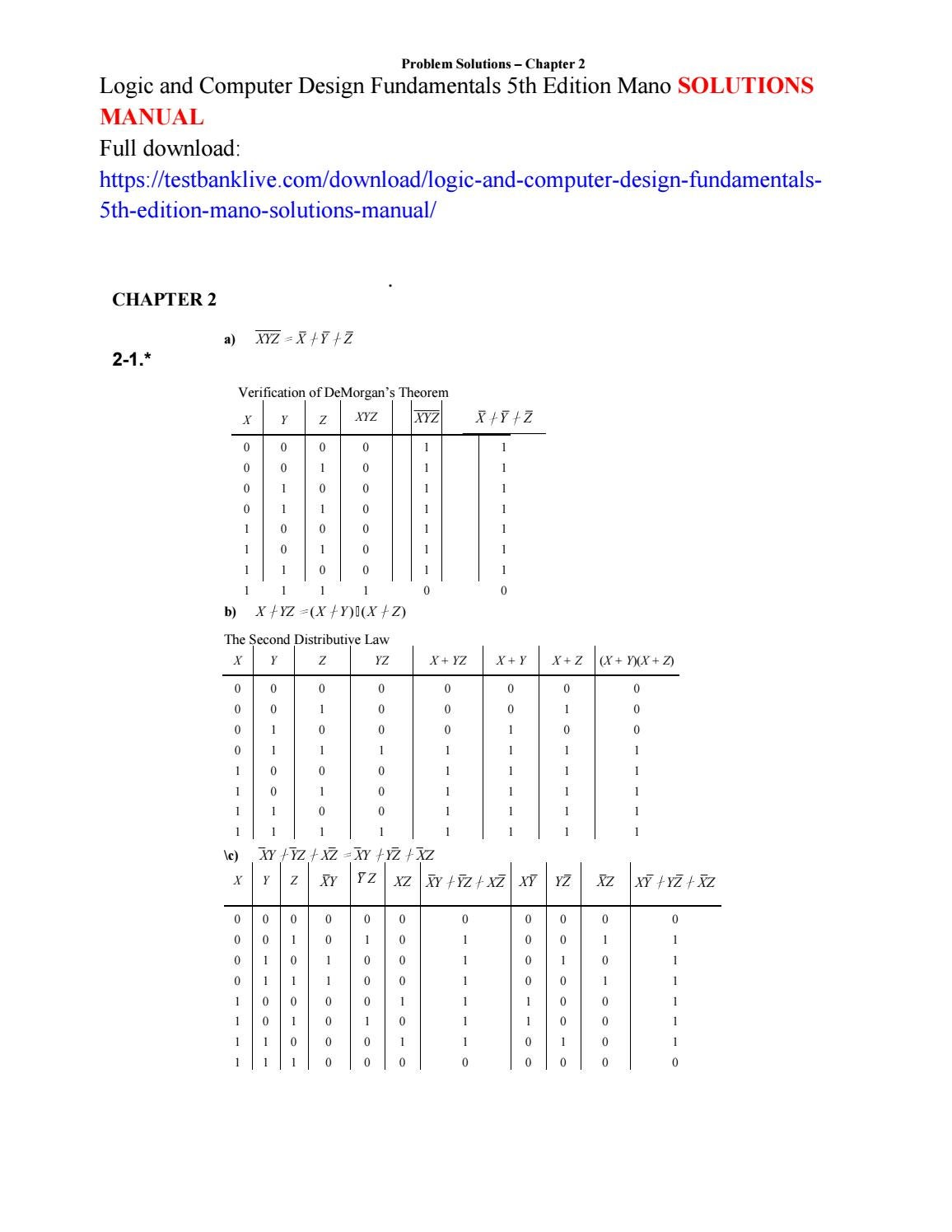 Logic and computer design fundamentals 5th edition mano solutions manual by  princess5648 - issuu