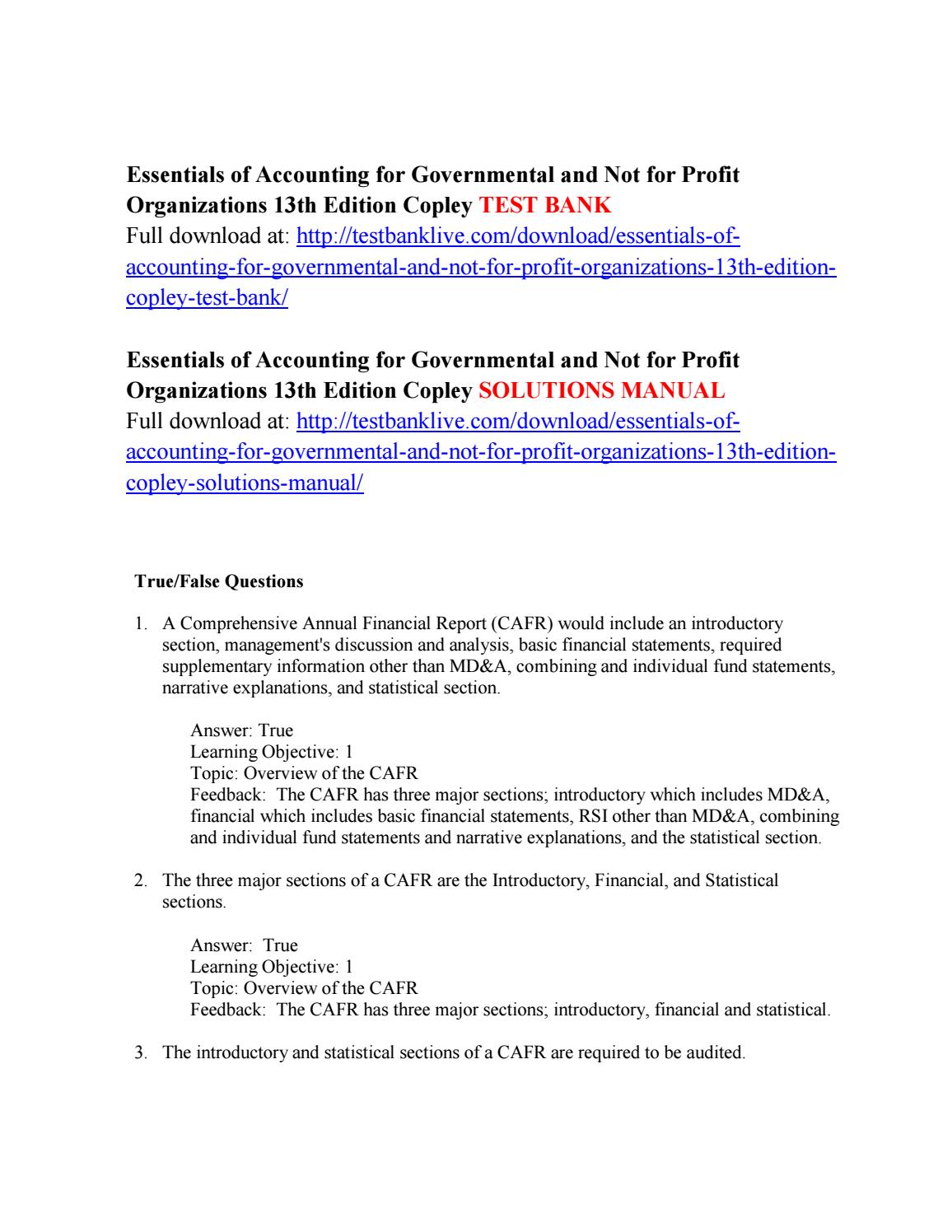 Essentials of accounting for governmental and not for profit organizations 13th  edition copley test by danilysu - issuu