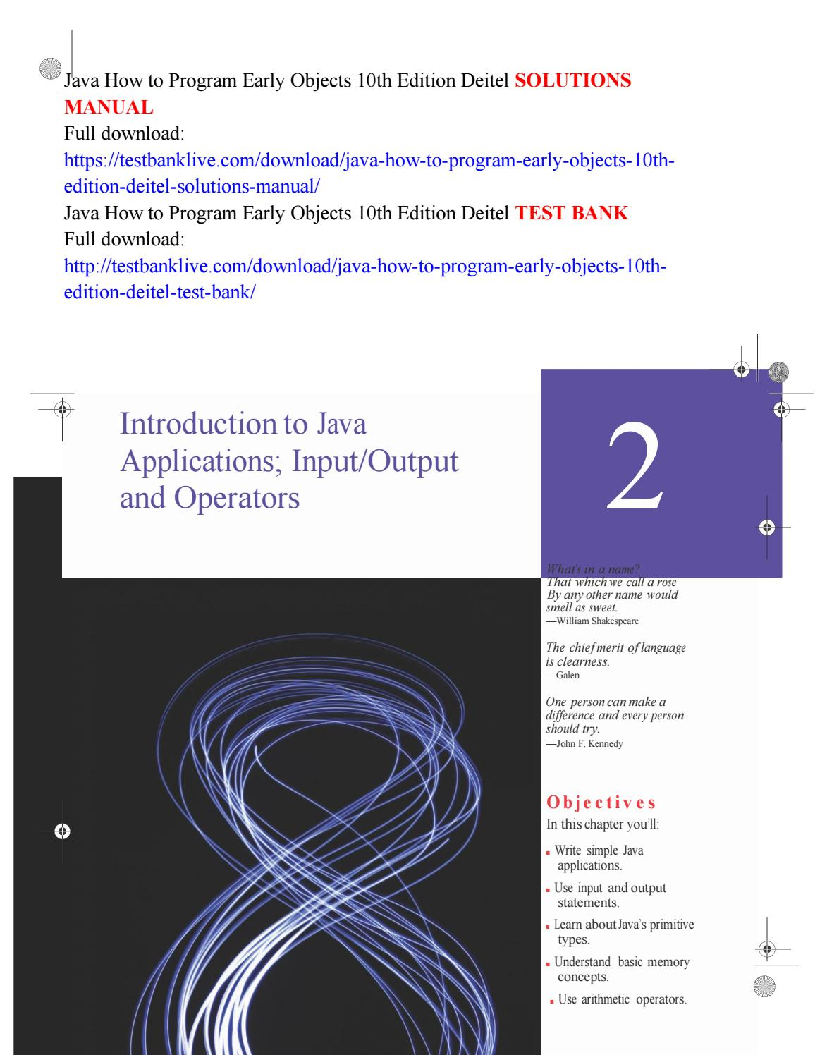 Java how to program early objects 10th edition deitel solutions manual by  angela5546 - issuu