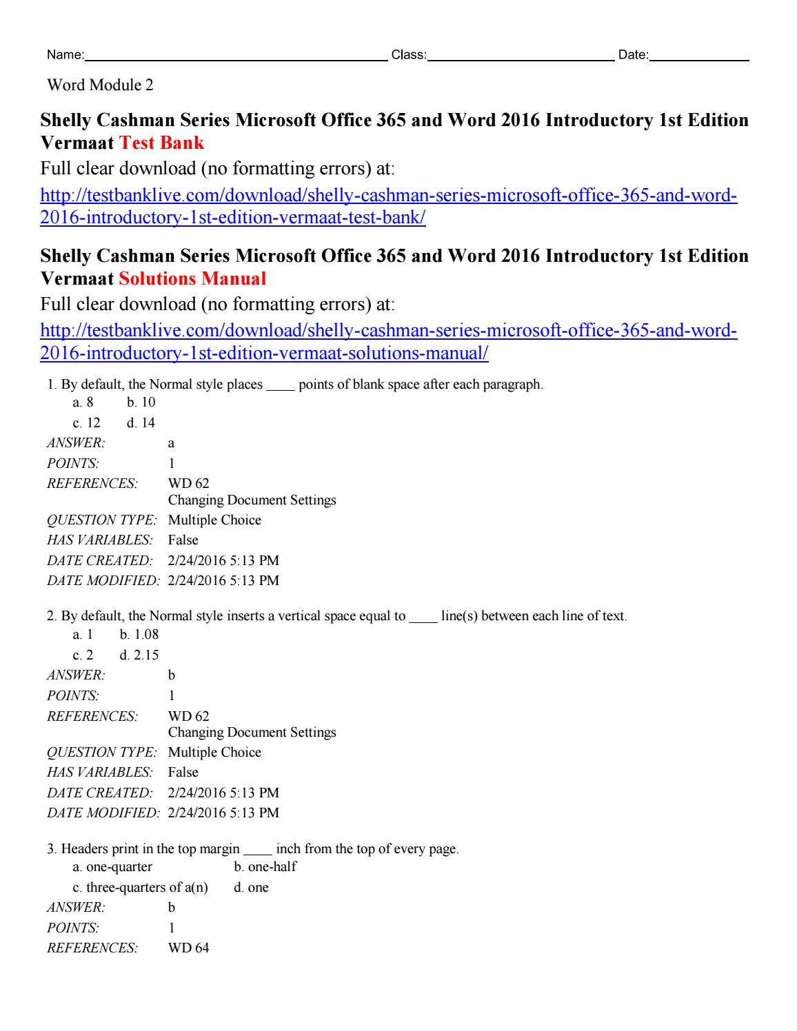 Shelly cashman series microsoft office 365 and word 2016
