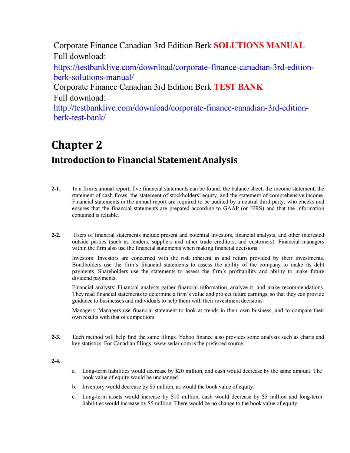 Corporate finance canadian 3rd edition berk solutions manual by calevin5637  - issuu