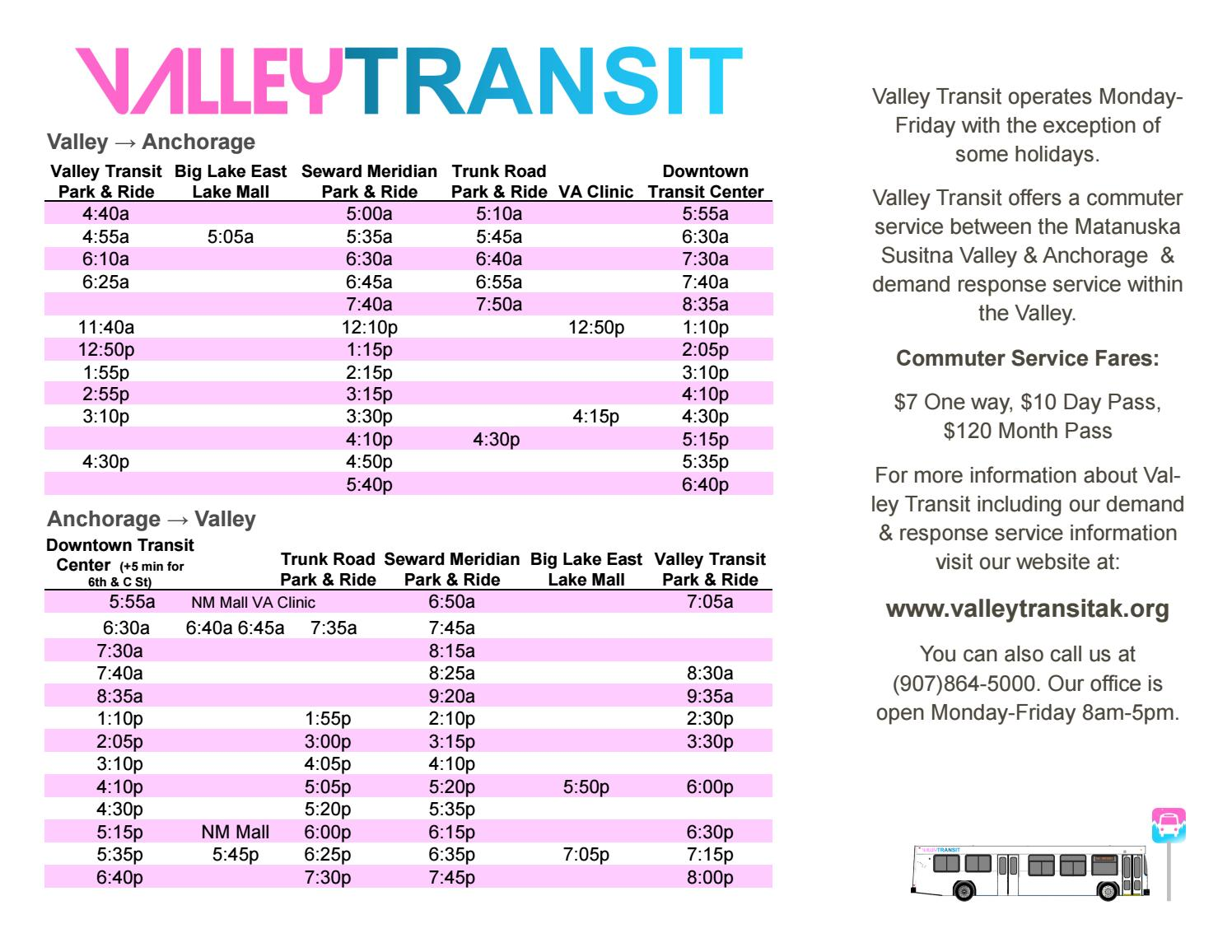 2017 Valley Mover Bus Schedule By Adrc Mat Su Issuu
