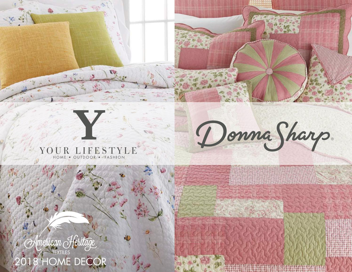 Donna Sharp Lavender Rose Decorative Pillow 16 x 16 White//Green