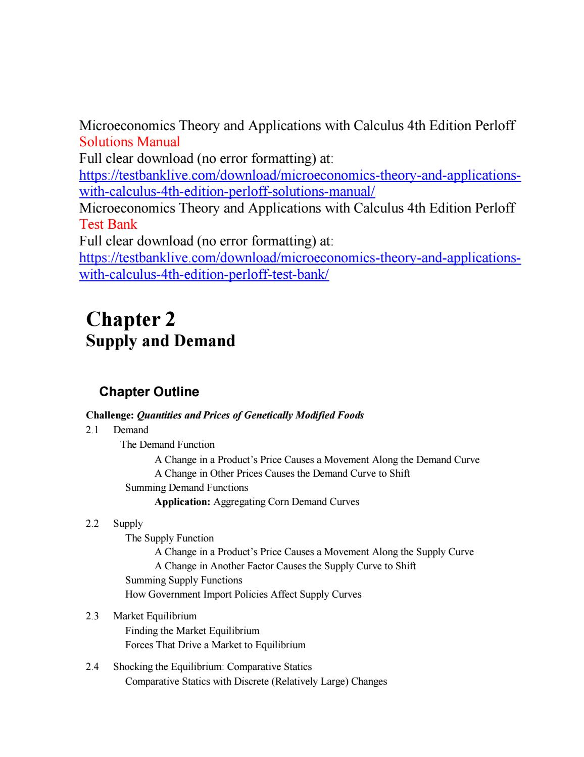 Microeconomics theory and applications with calculus 4th