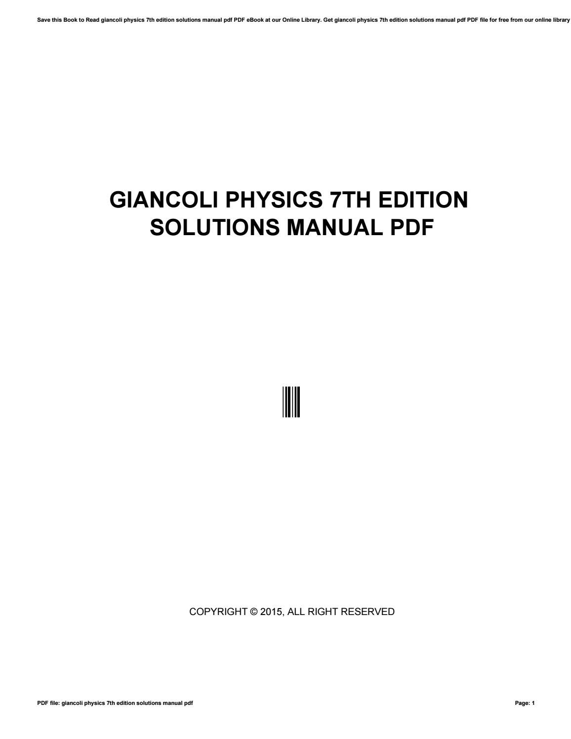 Giancoli Physics 7th Edition Solutions Manual Pdf By O7976 Issuu