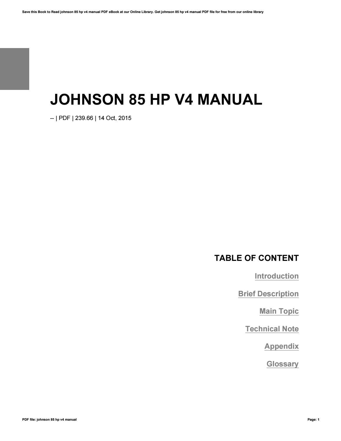 Johnson 85 Hp V4 Manual Ebook Diagram Of Honda Generator Parts Ex800 A Jpn Vin G100 Evinrude Array By Barryogorman36 Issuu Rh