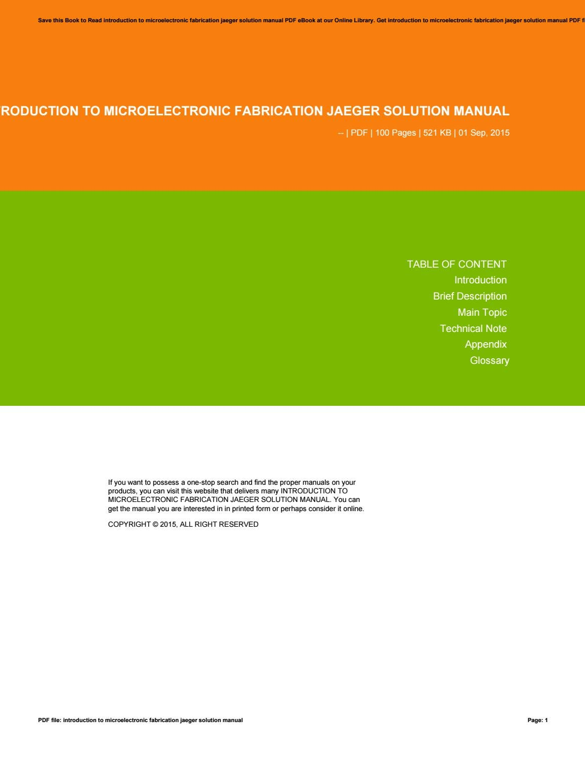 Introduction to microelectronic fabrication jaeger solution manual by  barryogorman36 - issuu
