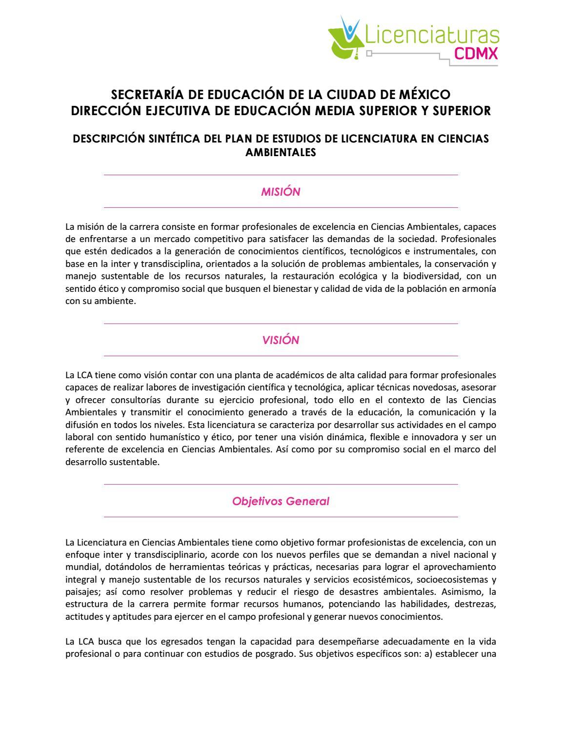 Licenciatura en ciencias ambientales para zonas urbanas seduc cdmx ...