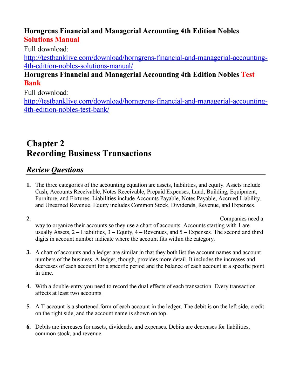 Horngrens financial and managerial accounting 4th edition nobles solutions  manual by lzlz111 - issuu