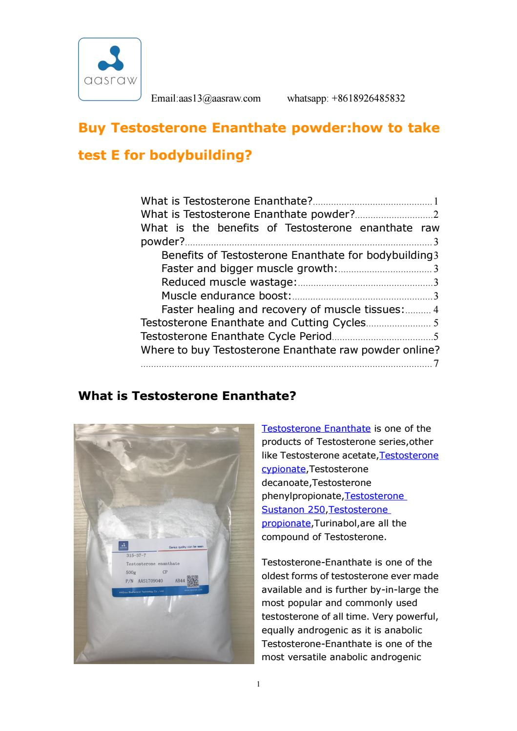 Aas buy testosterone enanthate powderhow to take test e for