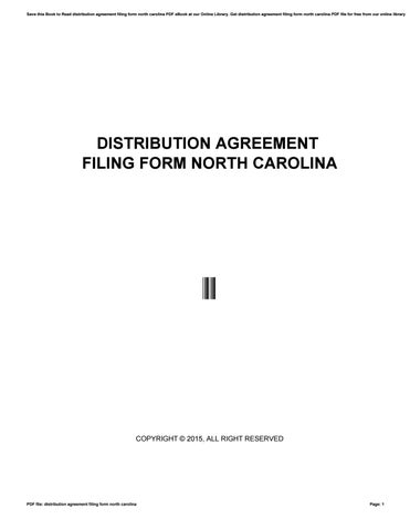 Distribution Agreement Filing Form North Carolina By Mail6519 Issuu