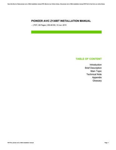 pioneer avic z130bt installation manual by toon831 issuu rh issuu com Pioneer AVIC -Z120BT Wiring-Diagram Crutchfield Pioneer AVIC-Z130BT