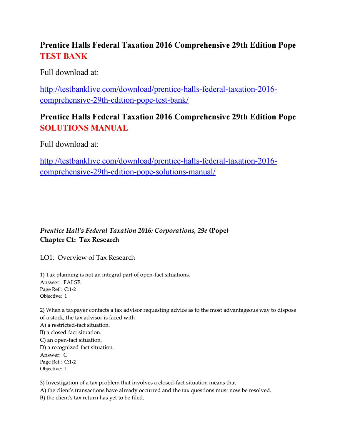 Prentice halls federal taxation 2016 comprehensive 29th edition pope test  bank by Caridwen123 - issuu