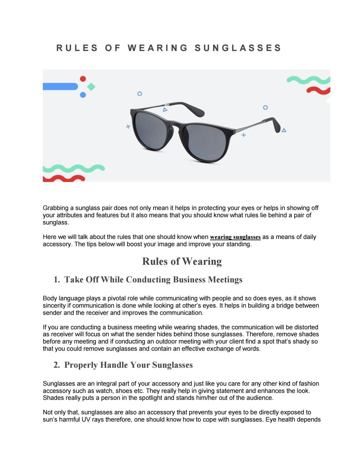 72eb66fc06a Rules of wearing sunglasses by Umair saleem - issuu