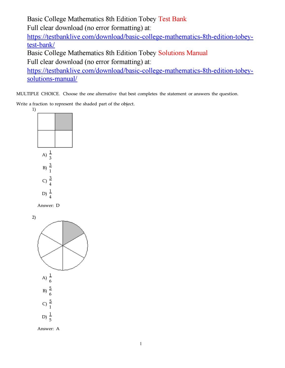 Basic college mathematics 8th edition tobey test bank by Cup927 - issuu