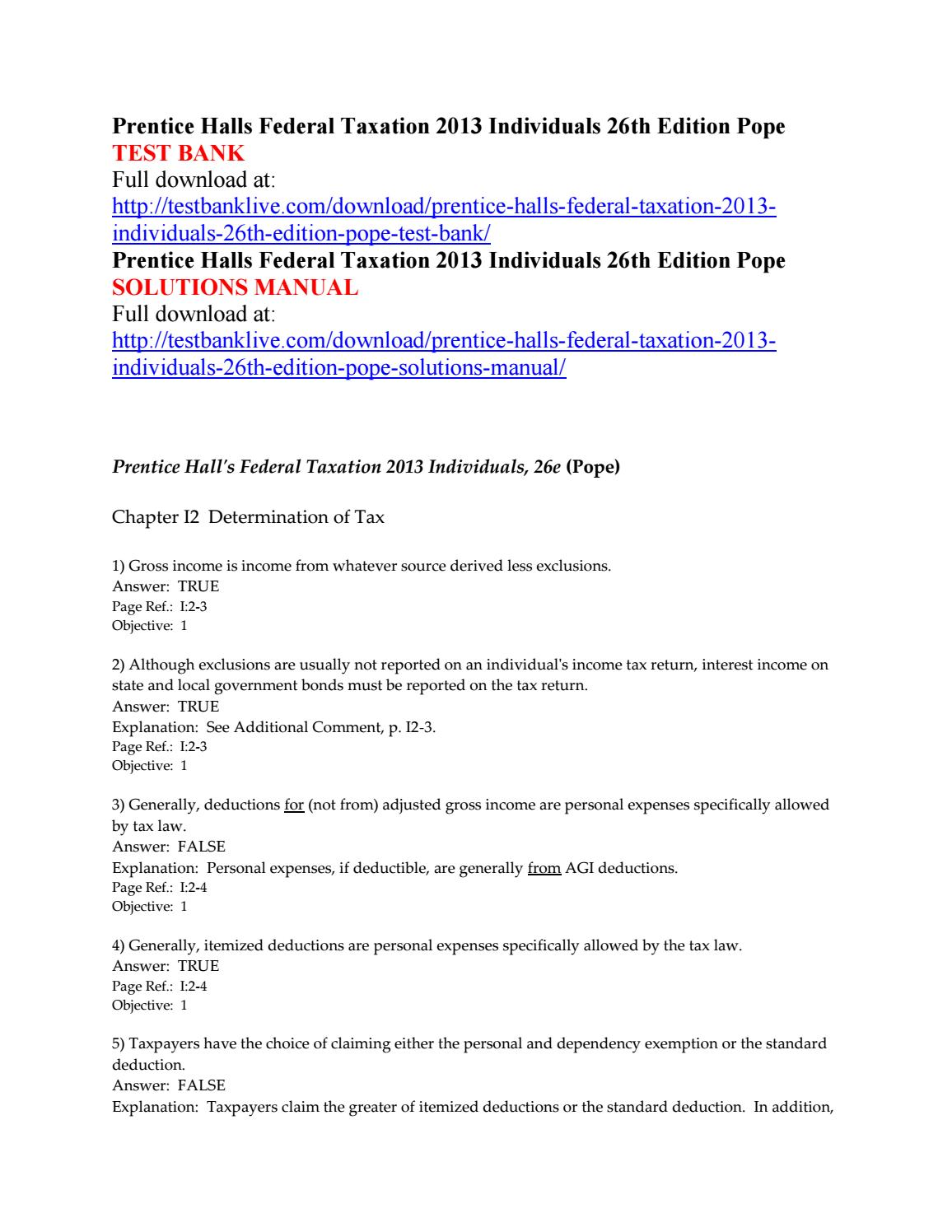 Prentice halls federal taxation 2013 individuals 26th edition pope test  bank by Caridwen123 - issuu