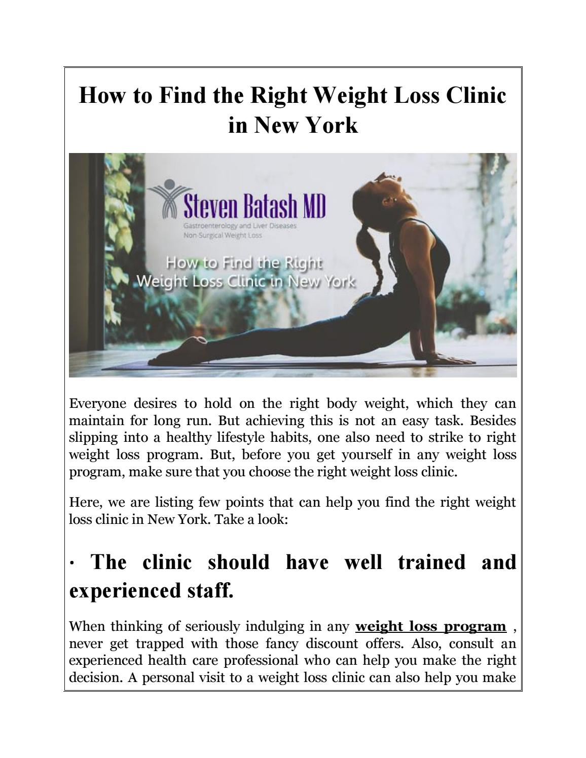 How To Find The Right Weight Loss Clinic In New York By Steven