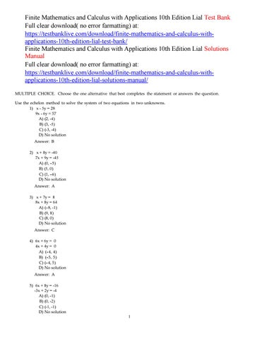 LIAL CALCULUS WITH APPLICATIONS EPUB - Top Pdf