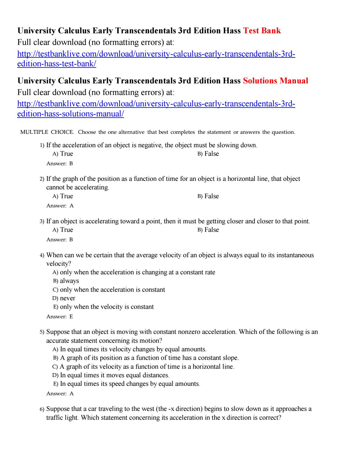 University calculus early transcendentals 3rd edition hass test bank by  Chapman49 - issuu