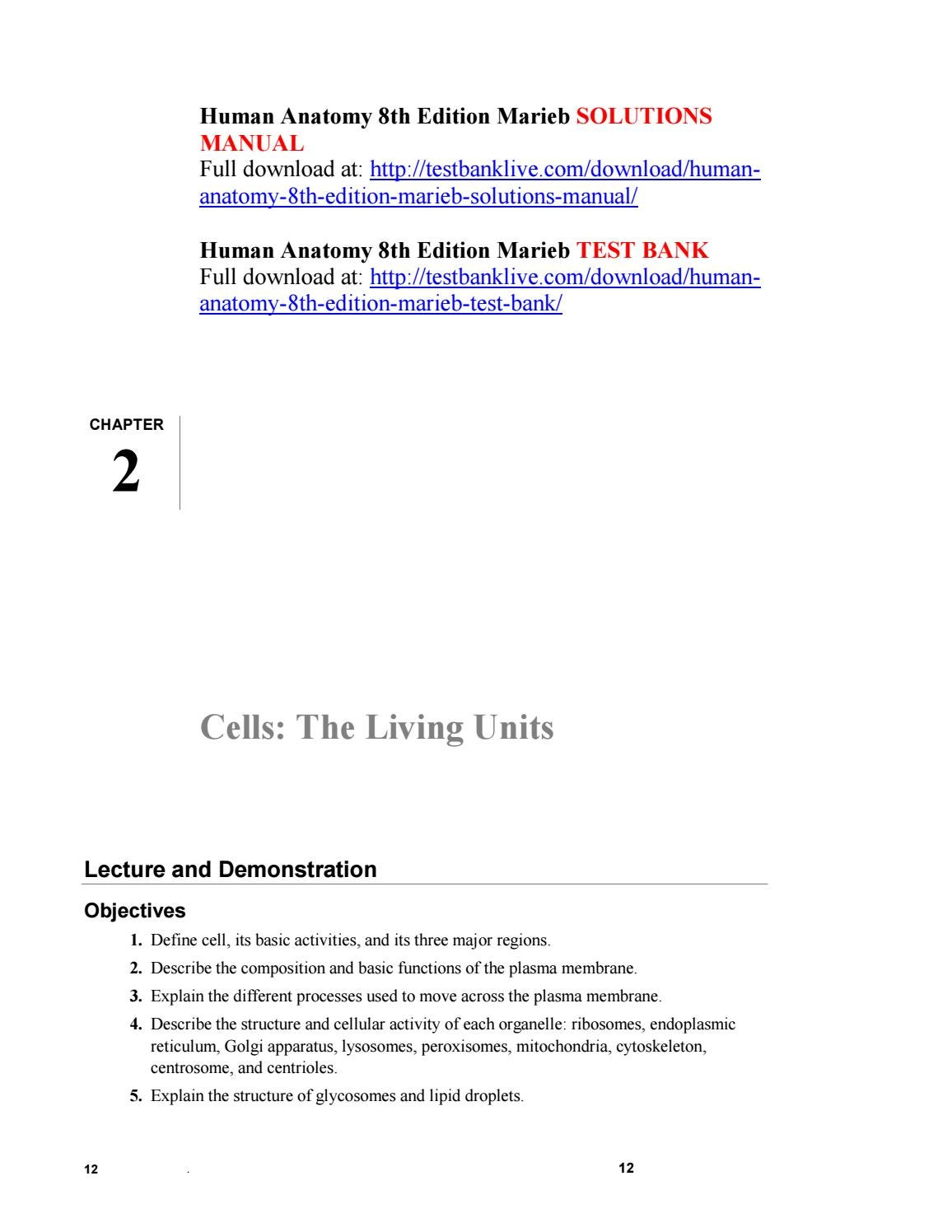 Human anatomy 8th edition marieb solutions manual by ghockje - issuu