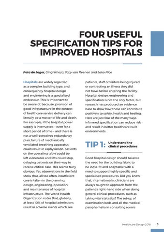 Page 5 of Specification tips for improved hospitals