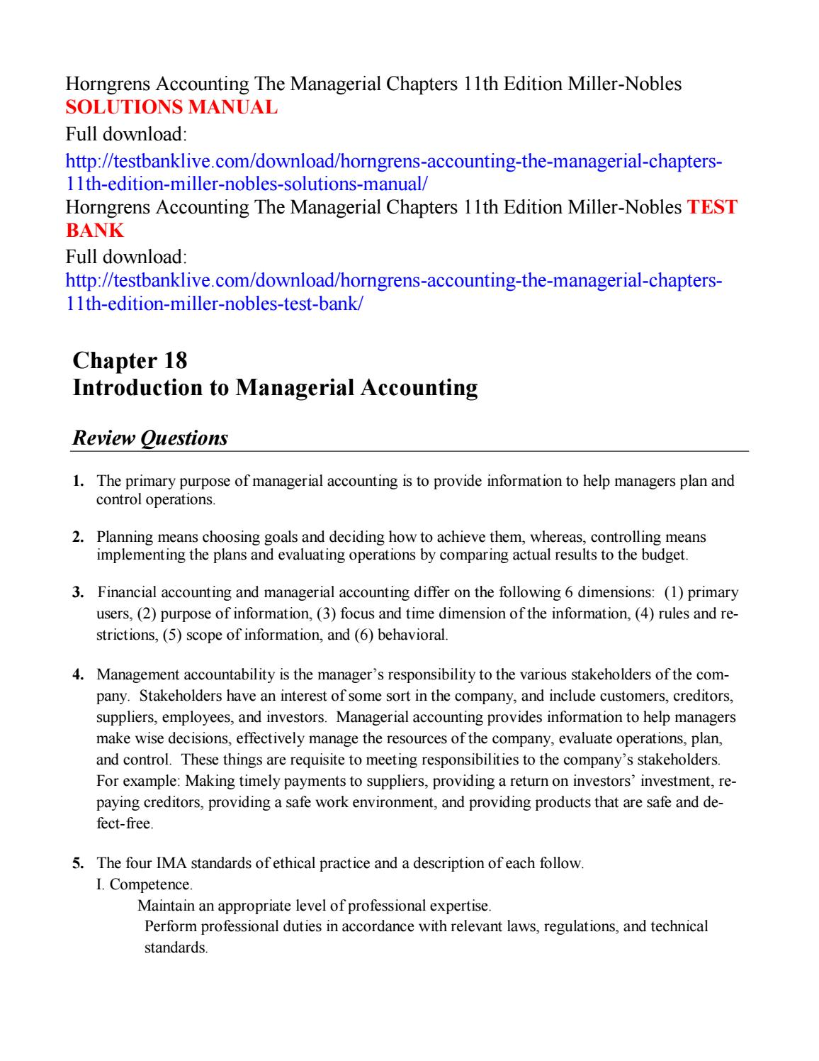 Horngrens accounting the managerial chapters 11th edition miller nobles solutions  manual by issuu1112 - issuu