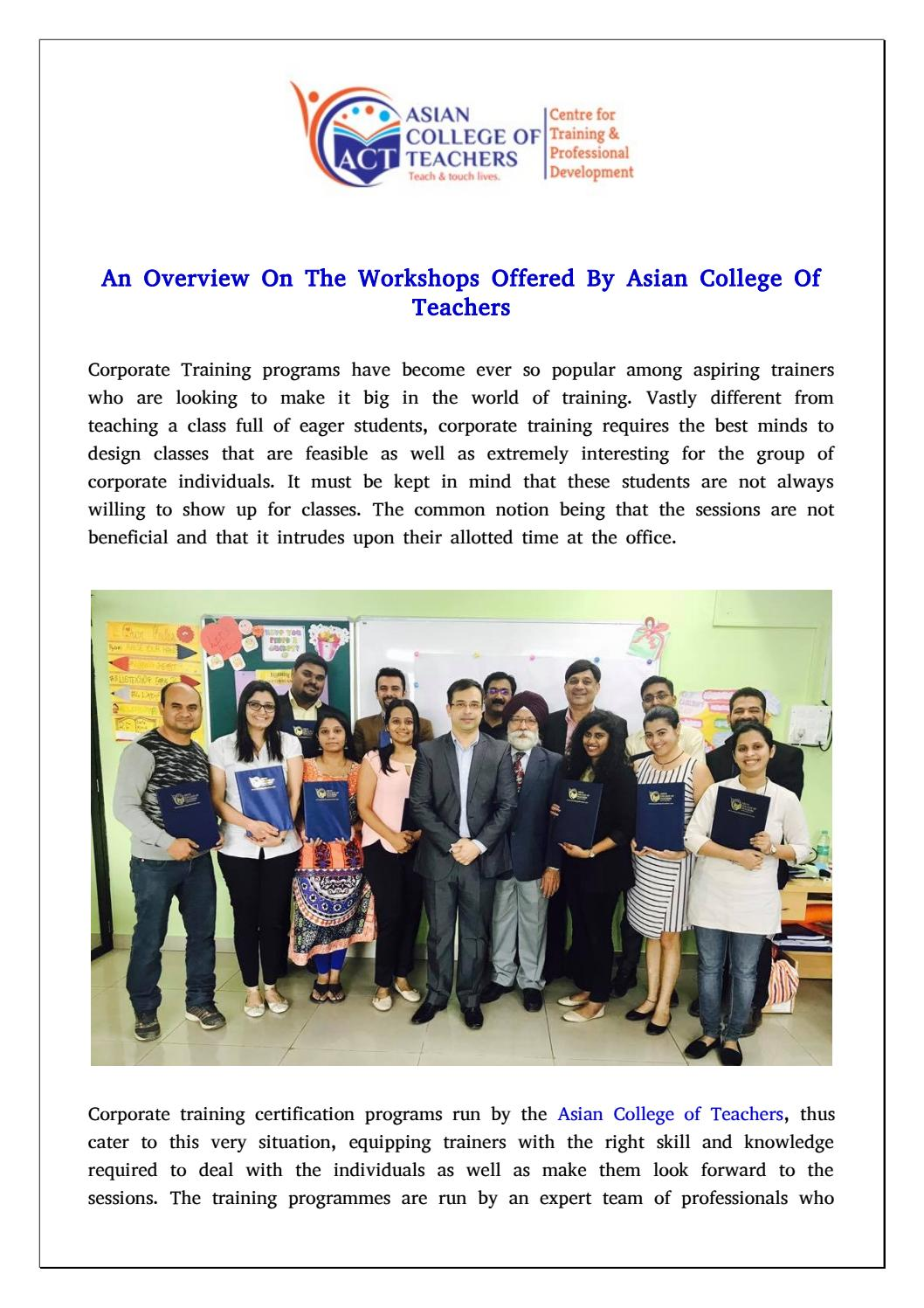 Workshop Offered By Asian College Of Teachers For Corporate Trainers