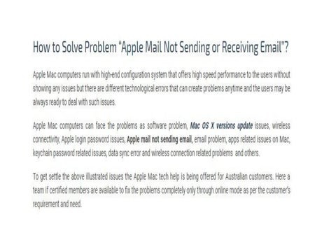 How to Solve Problem Apple Mail Not Sending or Receiving Email by