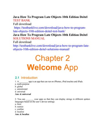 java how to program late objects 10th edition deitel test bank by rh issuu com Deitel PDF Deitel Python