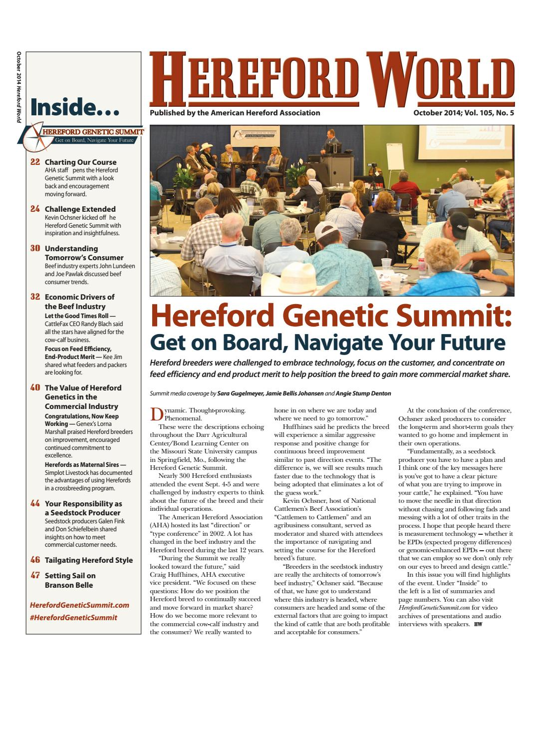 october 2014 hereford world by american hereford association and