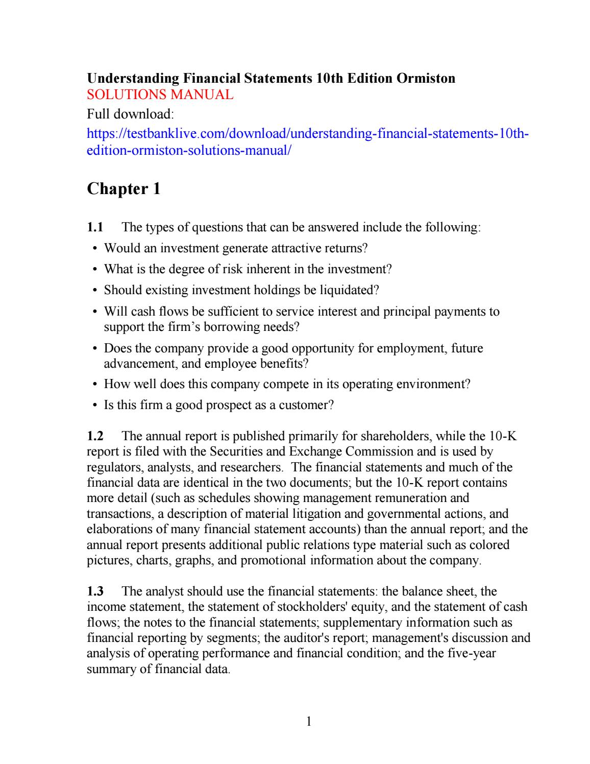 Understanding financial statements 10th edition ormiston solutions manual  by qhqh111 - issuu
