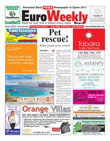 Euro weekly news costa blanca north 8 14 february 2018 issue issue no 1701 fandeluxe Images