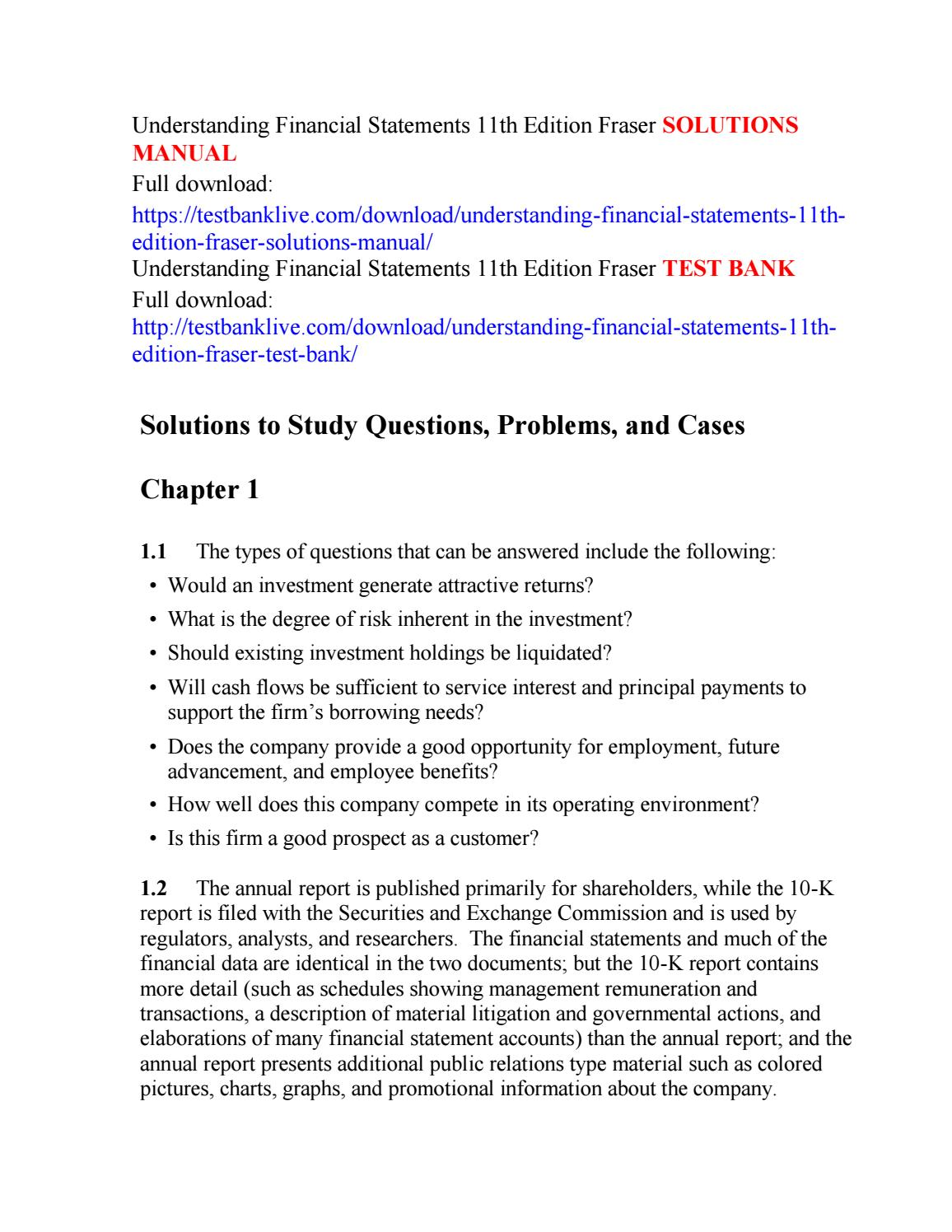 Understanding financial statements 11th edition fraser solutions manual by  qkqk111 - issuu