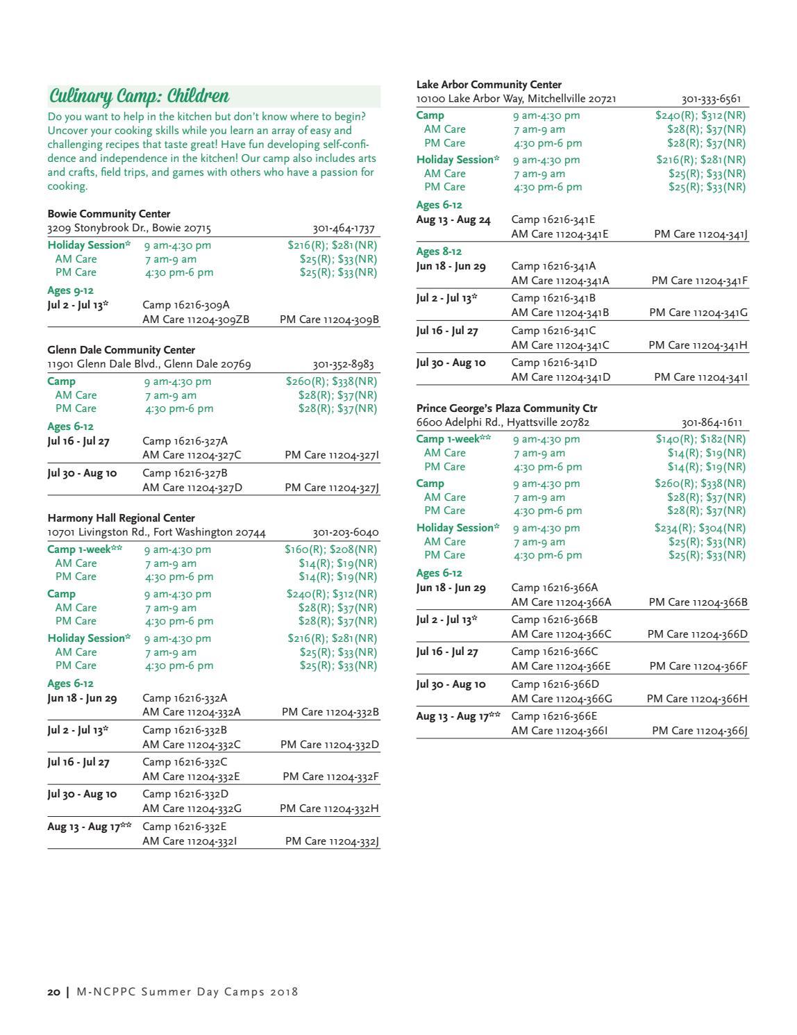 2cf979d515 2018 Summer Program Brochure by M-NCPPC
