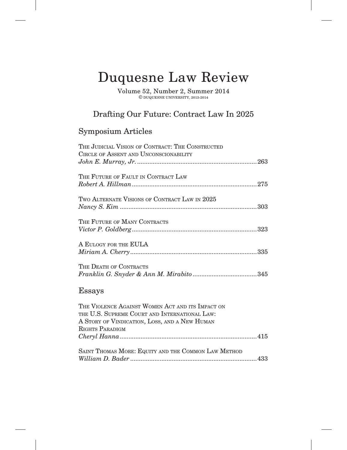 Duquesne Law Review Volume 52 2 by Duquesne University