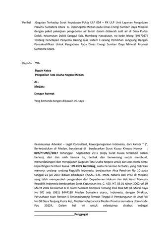 Surat Gugatan Ptun By Jonnizar Issuu