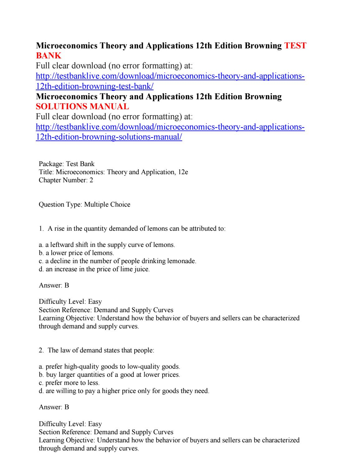 Microeconomics theory and applications 12th edition browning test bank by  haui111 - issuu