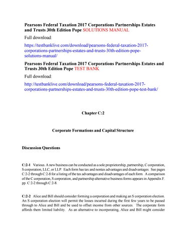 Pearsons Federal Taxation 2017 Corporations Partnerships Estates And