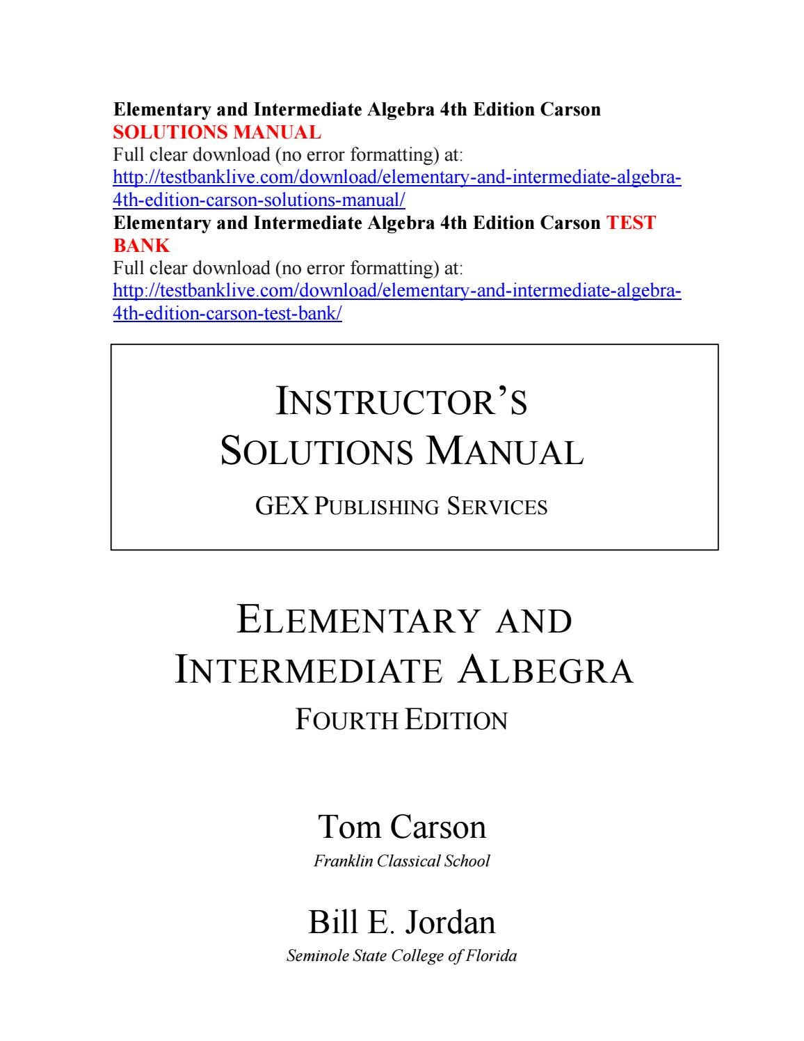 Elementary and intermediate algebra 4th edition carson solutions manual by  qwerty1120 - issuu