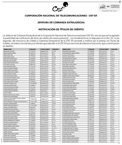 cnt notificacion titulos de credito quito 31 enero 2018 by
