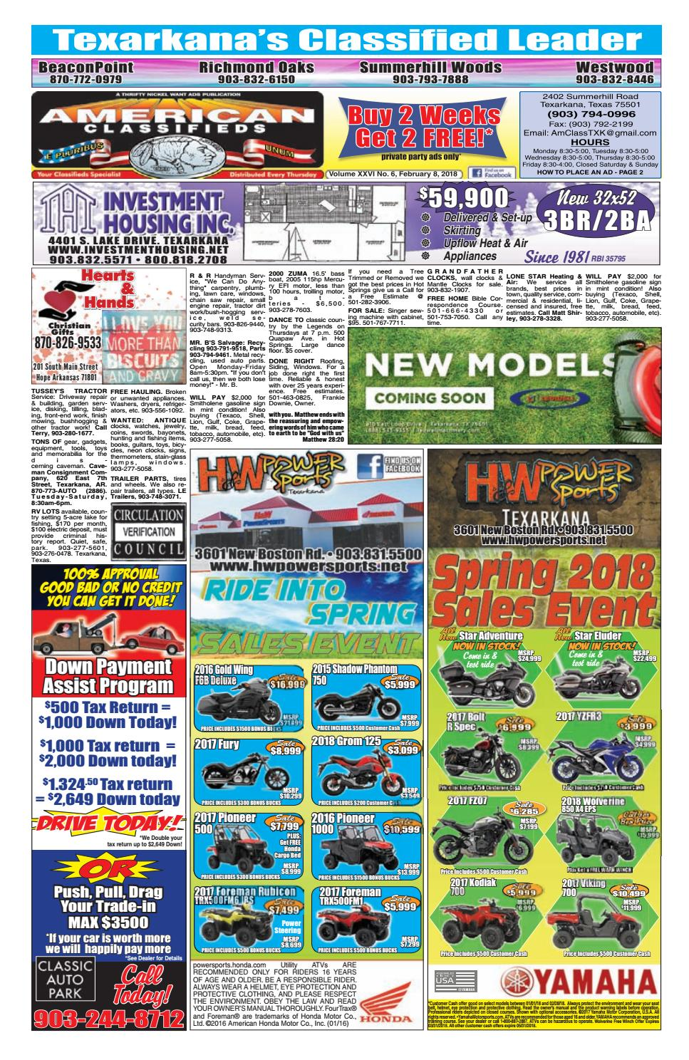 2-8-18 Texarkana American Classifieds by American Classifieds/Thrifty  Nickel - issuu
