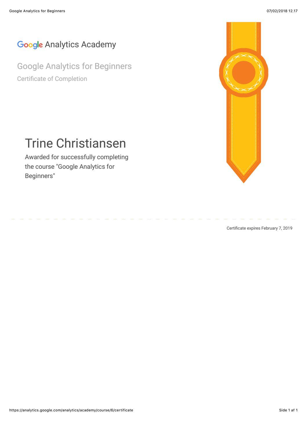 Google Analytics Certification For Beginners By Trine Christiansen