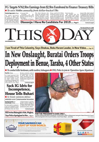 wednesday 8th february 2018 by thisday newspapers ltd issuu